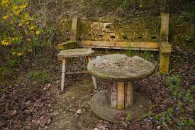 old bench and table in forest royalty free stock image image