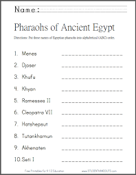 pharaohs of ancient egypt in abc order student handouts