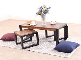 Coffee Table With Nesting Stools - altura coffee table with two nested stool in two tone finish by