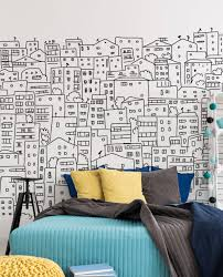 black and white city sketch wall mural eazywallz