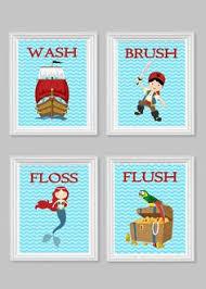 Kids Pirate Bathroom - kids bathroom art wash brush floss flush pirate mermaid