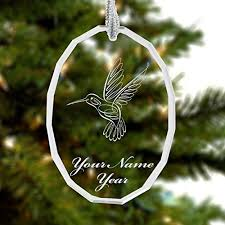 personalized glass crystal christmas ornament hummingbird engraved