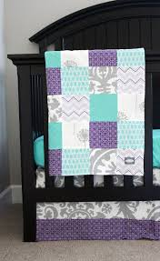 Teal And Purple Crib Bedding Bedding Grey And Purple Crib Bedding Custom Baby Bedding Grey