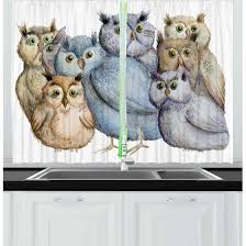 owl bedroom curtains owl curtains 2 panels set watercolor hand drawn cute owl family