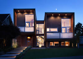 contemporary home design architecture front yard modern cube house lighting ideas with