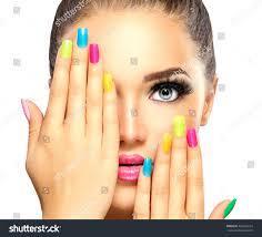 beauty face colorful nail polish stock photo 403629274