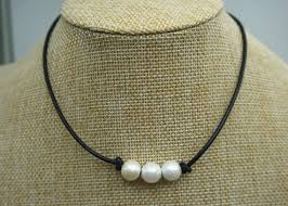 leather necklace with pearl images Three pearl necklace leather pearl choker pearl leather jpg