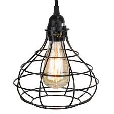 industrial cage pendant light with 15 u0027 toggle switch black fabric
