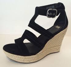 ugg australia lauri wedge sandals heels black suede us 9 5 eur