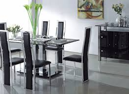Modern Glass Dining Tables And Chairs Charming Expandle Glass - Black glass dining room sets