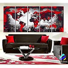 amazon com wieco art large 4 piece red and black with circles
