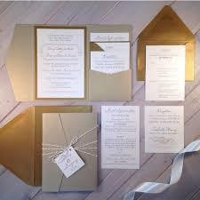 Wedding Invitation Pocket Light Gold Wedding Invitations Champagne Wedding Invitations