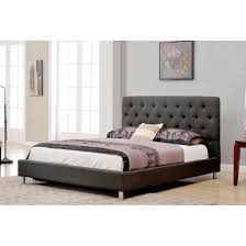 Asian Wooden Floor Furniture Black Linen Platfornm Bed Frame Having Head Board And