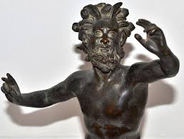 antique patinated bronze greek mythology pan sculpture from