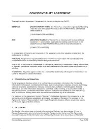 confidentiality agreement template u0026 sample form business in a box