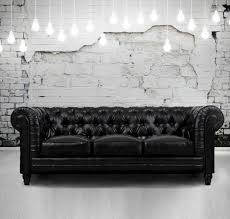 Leather Chesterfield Sofas For Sale by Zahara Tufted Black Leather Chesterfield Sofa Zin Home