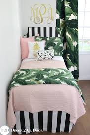 Designer Girls Bedding Palm Leaf Black White Blush Quilt Teen Bedding Set