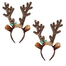 deer headband brown sequined reindeer antlers headbands set of 2 christmas