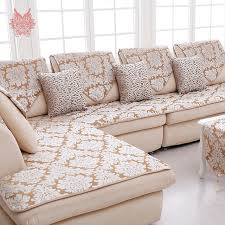 sofa canapé europe style beige floral jacquard terry cloth sofa cover plush