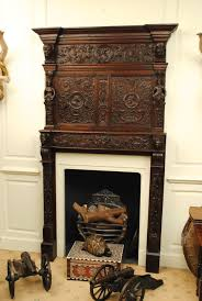 carved oak fire surround and over mantle 1650 belgium from