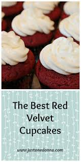 the best red velvet cupcake with cream cheese frosting just one