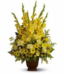sympathy flowers all yellow sympathy flowers in urn for floral delivery in houston tx