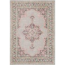 Pink Oriental Rug Persian Distressed Gray Pink Rug