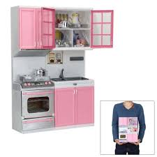 pink kid kitchen fun toy pretend play cook cooking cabinet stove