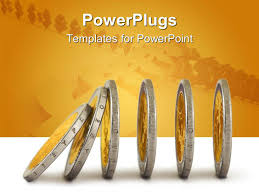 powerpoint template financial chart built with pile of gold coins