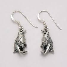 silver earring blue penguin sterling silver earring penguin gift shop