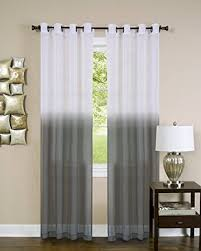 Ombre Sheer Curtains Essential Home Set Of 2 Ombre Sheer Window Curtain