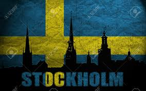 Sweedish Flag View Of Stockholm On The Grunge Swedish Flag Stock Photo Picture