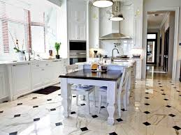 awesome kitchen tile floor design with ornate white kitchen island
