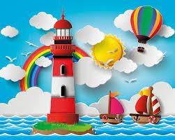 rainbow lighthouse wallpaper mural plasticbanners com rainbow lighthouse wall mural