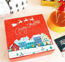 merry gift packing box large square size cookies