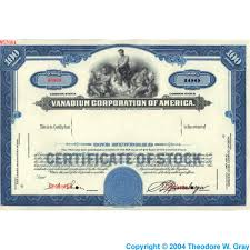 stock certificate a sample of the element vanadium in the