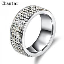 wedding jewelry rings images Chanfar 5 rows crystal stainless steel ring women for elegant full jpeg