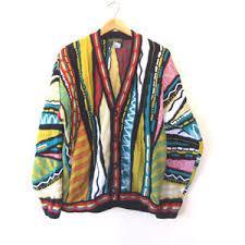 dashiki sweater coogi style cardigan sweater bright 90s hip hop oversized
