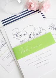 navy blue wedding invitations with script names and green belly