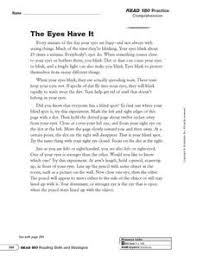 the eyes have it summarize 6th 8th grade worksheet lesson planet