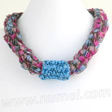 ribbon necklace making images Free pattern knit ladder ribbon necklace jpg