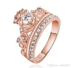 rose zircon rings images 2018 fashion gold rose gold plated princess crown zircon rings jpg