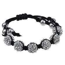 cord macrame bracelet images Shop celeste silvertone clear crystal beaded black cord macrame jpg