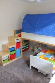 Ikea Bunk Bed Tent Cheerful Ikea Bunk Design For With Blue Tent And Stairs