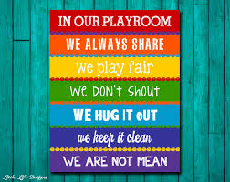 Rainbow Bedroom Decor Playroom Rules Sign Childrens Wall Art Kids Room Decor
