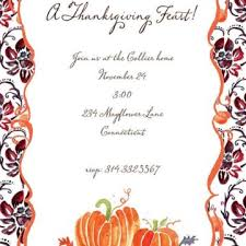 thanksgiving dinner invitation card design with brown silhouette