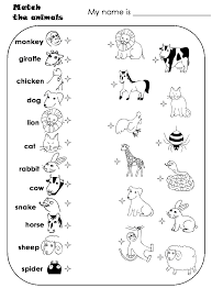 worksheets for preschoolers matching animals match the animals