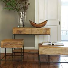 mango wood console table industrial storage console west elm