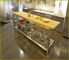 kitchen island stainless top stainless steel kitchen island with butcher block top hillside