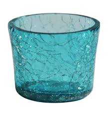 wholesale handmade glass tea light holder candle holder in blue